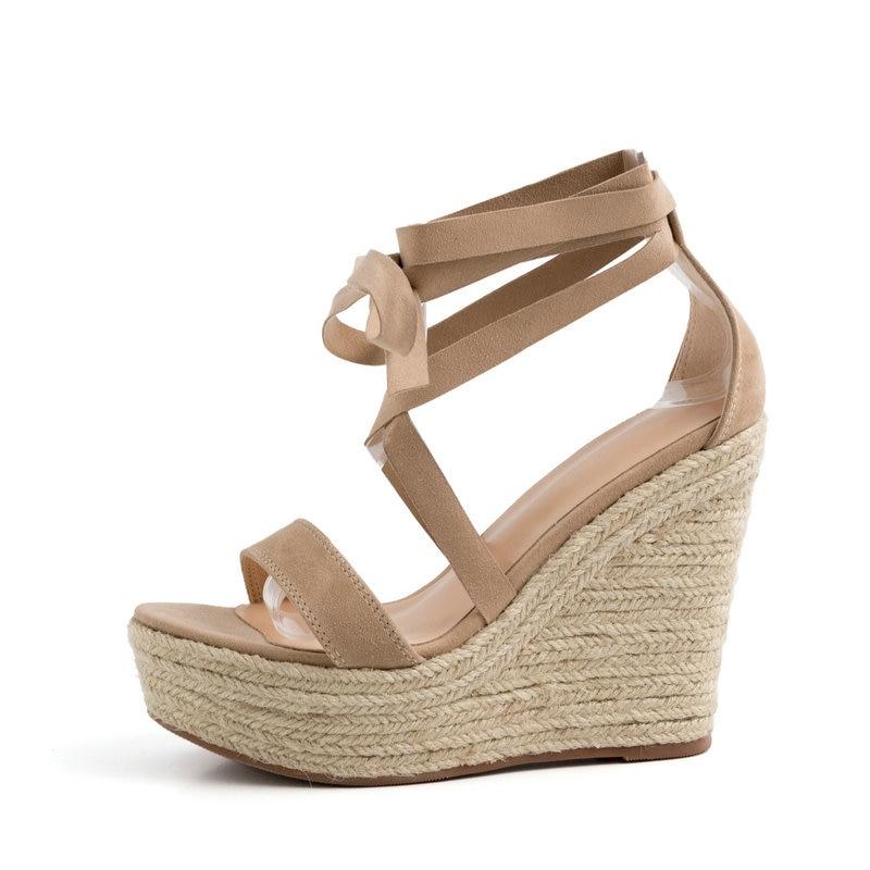 AIWEIYi หนังนิ่มหนังผู้หญิงรองเท้าแตะสีน้ำตาลสานรองเท้าส้นสูงเปิดนิ้วเท้ารองเท้าส้นสูง Lace Up ผ้าพันแผลสาวรองเท้าแตะ-ใน รองเท้าส้นสูง จาก รองเท้า บน   3