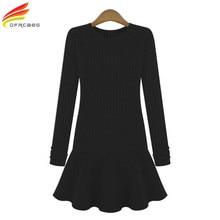 New Spring Autumn 2017 Women Sweater Dress With Long Sleeve Ukraine Style Black Dresses Female Plus Size 5XL Women Clothing Sale