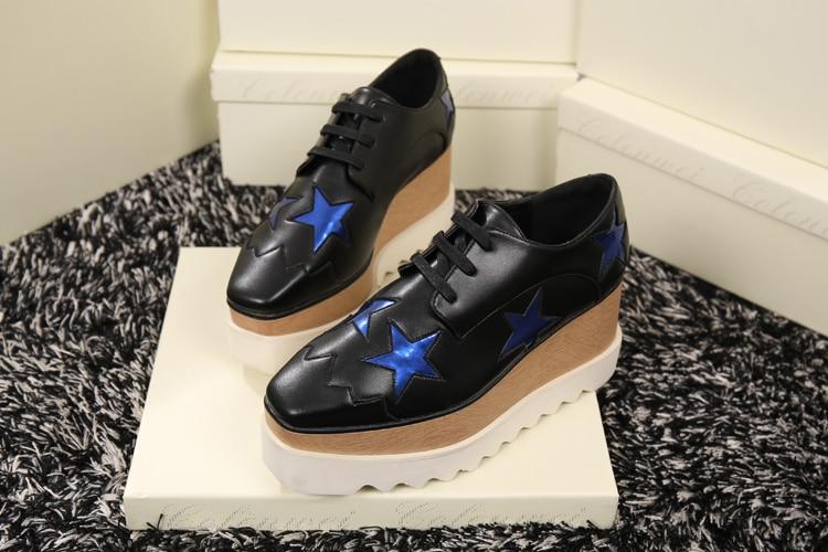 2017 új stílusos tavaszi őszi cipő női négyzet lábujj csipke fel alkalmi cipő csillagok applikátorok Thich talpas cipő