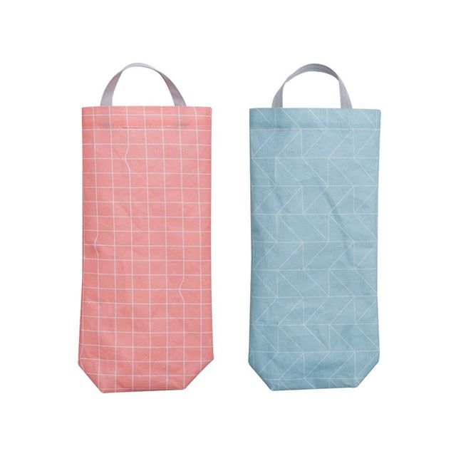 Set Of 2 Plastic Bag Holder Waterproof Wall Mount Grocery Dispenser Garbage Organizer With