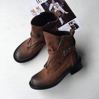 Nuevo Nuevos zapatos informales de mujer de moda Botines de Cuero otoño 2018 informal rebelde ancho con