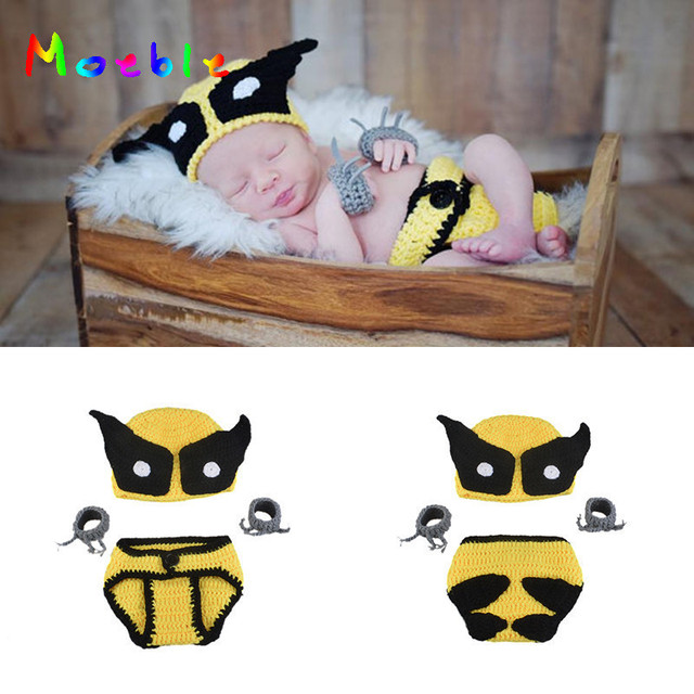 0c804467562 New Arrival Crochet Wolverine Baby Set Knitted Newborn Photography Props Baby  Boys Photo Prop Superhero Custome