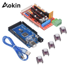 Aokin 1 шт. Мега 2560 R3+ 1 шт. RAMPS 1,4 плате контроллера+ 5 шт. DRV8825 Драйвер шагового двигателя для 3D-принтеры RepRap RAMPS 1,4 комплект