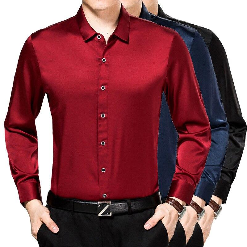 Erkek Kıyafeti'ten Frak Gömlekler'de Erkek 100% Ipek Uzun Kollu Gömlek Demir Boş Saf Ipek Gömlek'da  Grup 1