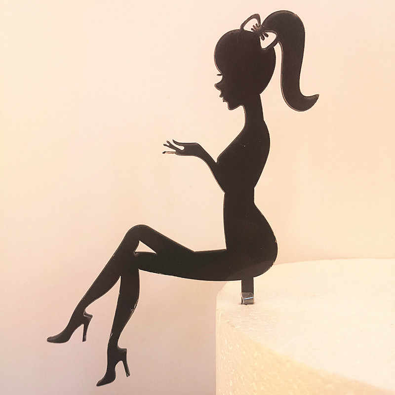 High Heels Lady Girl Acrylic Cake Topper Weddding Cake Decorations Happy Birthday Cupcake Topper Party Supplies Dessert Sign