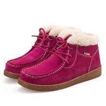 2017 зимние ботинки на меху женская обувь теплые на толстой подошве женские ботинки однотонные хлопковые сапоги
