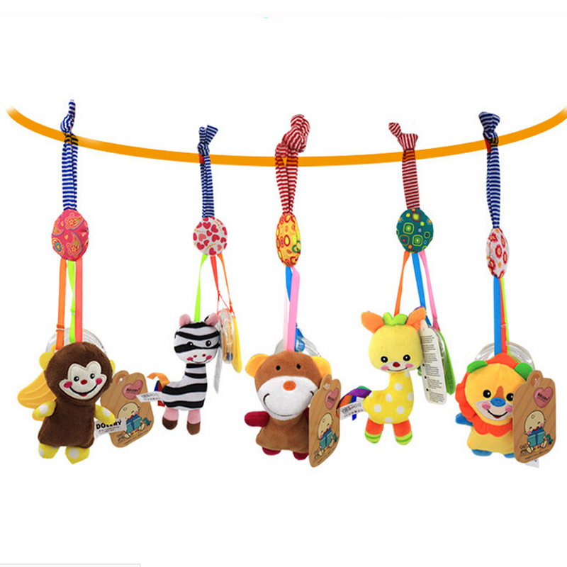 2018 Infant Toys Mobile Baby Plush Toy Bed Wind Chimes Rattles Bell Toy Baby Crib Bed Hanging Bells Toys B0942