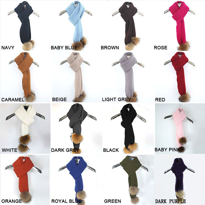 16-COLORS-FOR-ADULT-STRIPPED-SCARF WITH NATURAL POM
