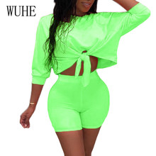 WUHE Rompers Women Casual Lace-up Hollow Out Two Pieces Sets Playsuits Femme Summer Bodycon Bandage Jumpsuits Plus Size 3XL fuda two pieces sets large size 3xl playsuits women bodycon rompers bodysuits short sleeve printed casual summer overalls