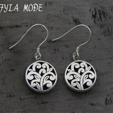 Simple Vintage S925 Pure Silver Drop Earrings Hollow Out Flower Earrings Dangling Ethnic Women Charms Brincos Jewelry 13.50mm