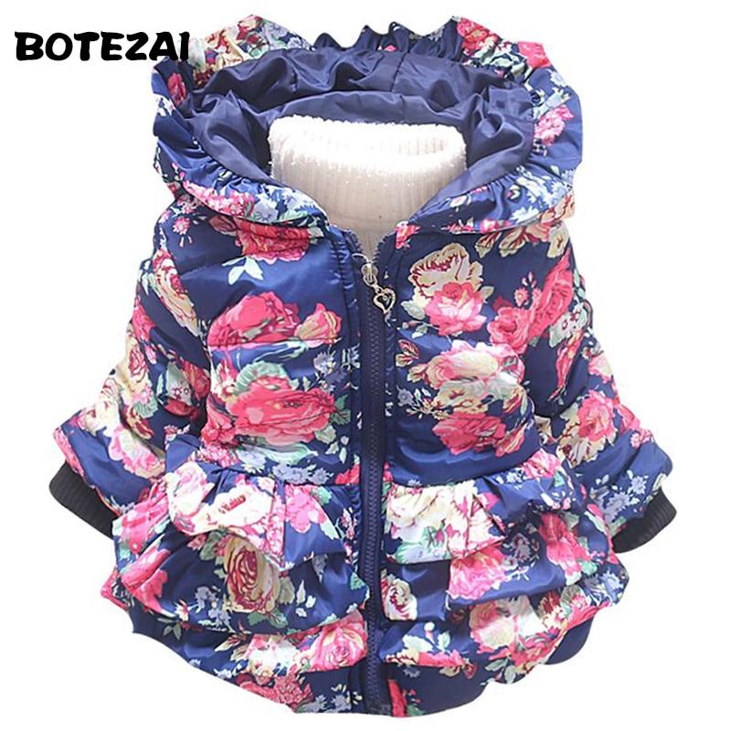 New baby girl's flower jacket coats girl outerwear autumn Winter Children's clothing children outerwear Hooded Jacket