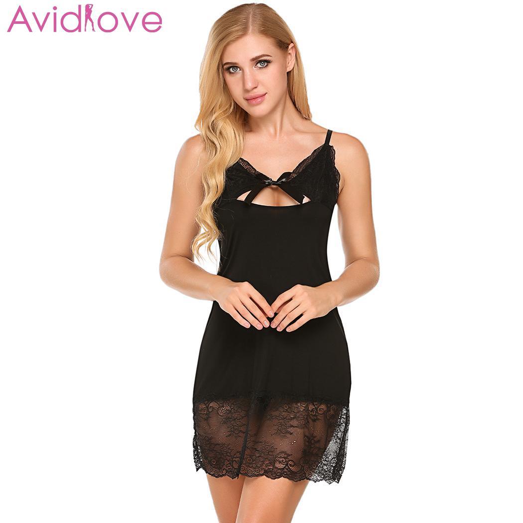 Sexy nightwear seksi bayan gecelikler women lingerie nighty mini babydoll cut-out sheer lace patchwork sleepwear