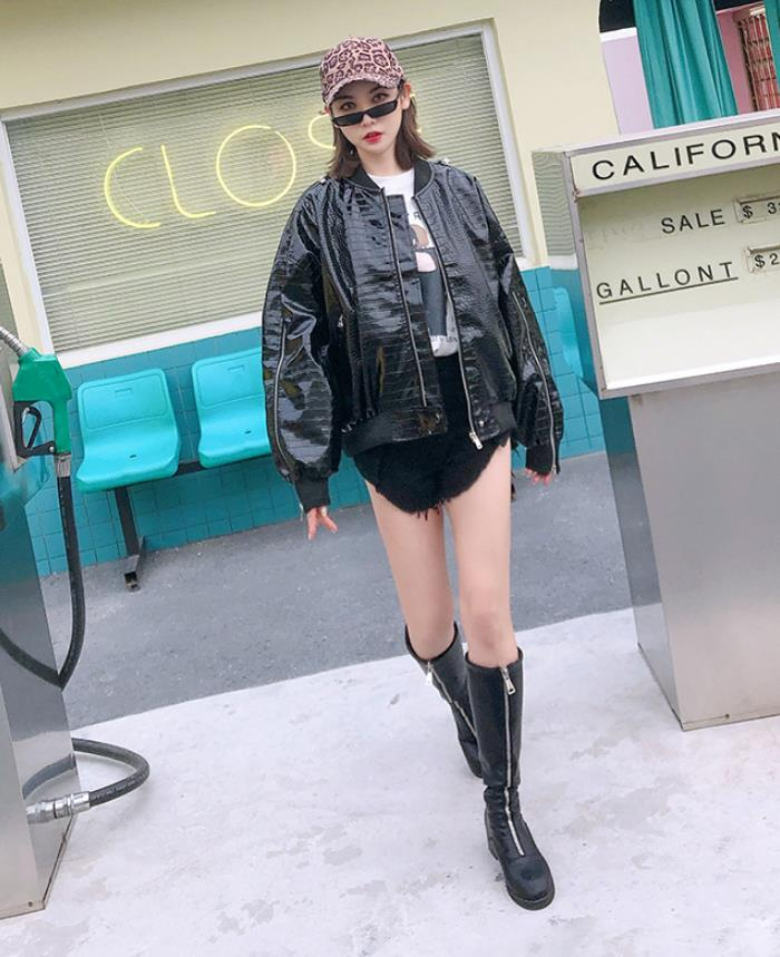 2019 spring fashion brand plaid pattern   leather   jackets female street style zipper stitching motorcar pu   leather   jacket wq1050