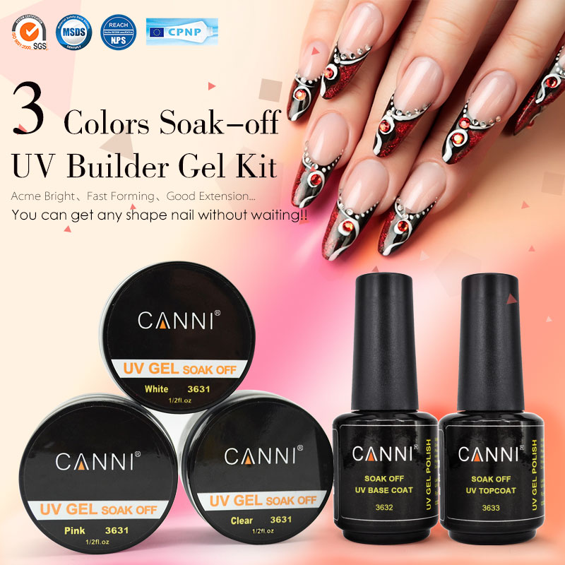French Nail Tips Uv Gel Kit 363 Canni Brand Art Salon Clear White Pink 3 Colors Soak Off Extending Builder In From Beauty