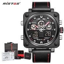 RISTOS Роскошные брендовые новые мужские часы с хронографом Лидер продаж Модные Военные Спортивные Водонепроницаемые кожаные Наручные часы Relogio Masculino