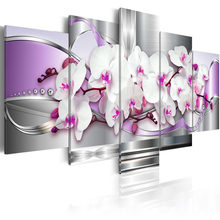 5 Pieces Canvas Photo Prints Purple Orchid Wall Art Picture Canvas Paintings Home Decor pictures for living room Framed PJMT-43(China)