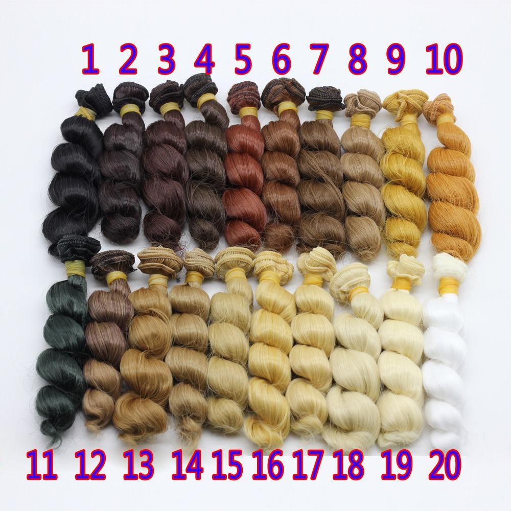 15cm * 100cm kerinting coklat falxen rambut palsu rambut hitam emas - Anak patung dan aksesori - Foto 1