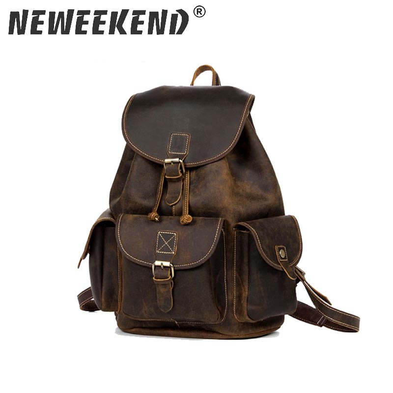 все цены на Men Backpacks 100% Genuine Leather Men's Travel Bag Fashion Man Casual Backpack Leather Business Bag Male Backpack BB