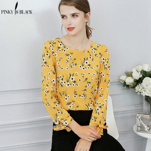 Pinky Is Black Chiffon Shirt Women Tie Sleeve Blouse Top Fashion