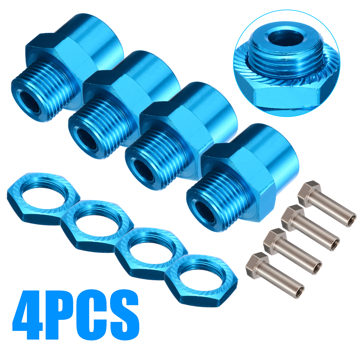 4pcs 12mm To 17mm Wheel Hex Conversion Adapter For 1/10 RC Car Upgrade With Pins&Screws Accessories