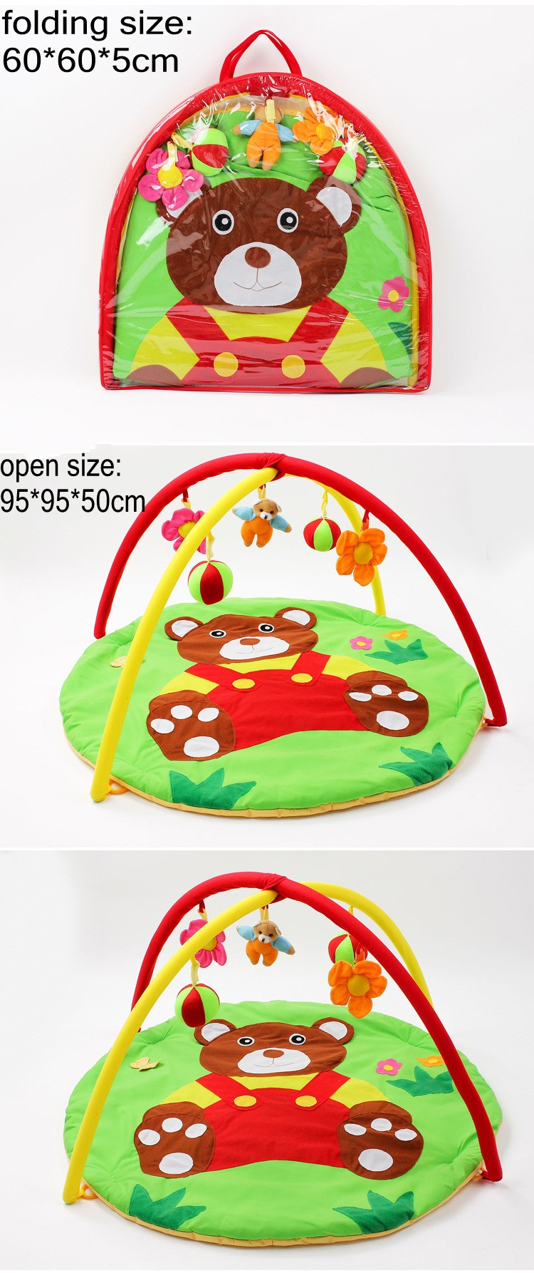 Fun Bear Baby Toy Baby Kids Play Mats 0-1 Year Indoor Baby Sports Soft Crawling Pad Musical Activity Gym Play Blanket 1