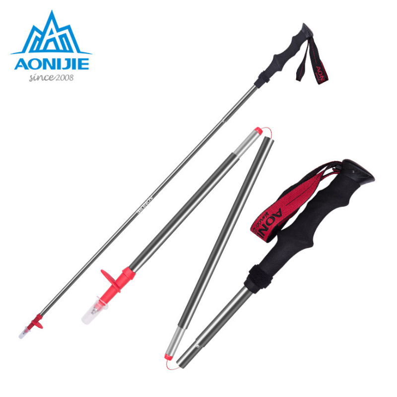 AONIJIE Folding Aluminium Alloy Hiking Climbing Stick Adjustable Canes 3 Sections Handle Trekking Pole Walking Stick windtour retractable aluminum alloy trekking hiking mountaineering walking stick pole black