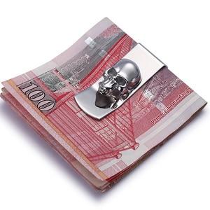 Image 2 - מודרני חדש לגמרי 2020 גולגולת עיצובים גברים רסיס כסף קליפ Slim כיס ארנק מזומנים מחזיק כרטיס ארגונית גברים נשים ארנק