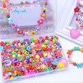 De la muchacha de los granos diy juguetes para niños cadena de joyería collar pulsera de perlas componen juguetes rompecabezas kit de construcción de bloque educativo del juguete