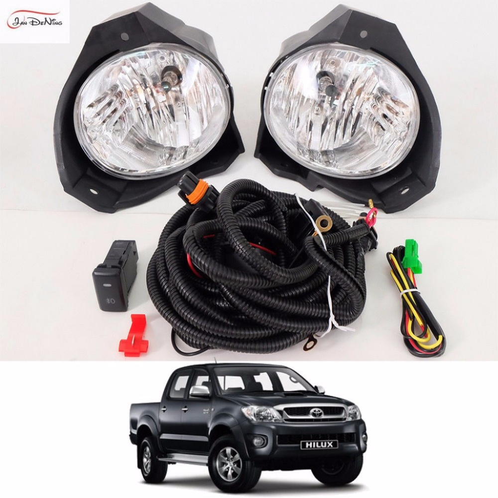 JanDeNing Car Fog Lights For TOYOTA HILUX VIGO 2008-2010 Clear Front Fog Lamp Cover Trim Replace Assembly kit black (one Pair) car fog lights lamp for mitsubishi triton 2 door 2009 on clear lens pair set wiring kit fog light set free shipping