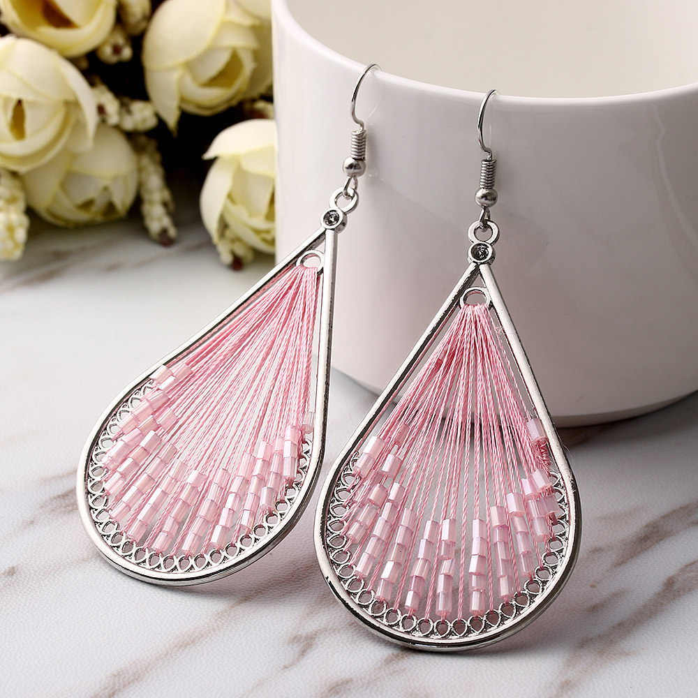 1 Pairs Fashion New Women Handmade Knot Thread Drop Dangle Hook Earrings Leaf Shape Peru Jewelry Pink Blue Orange Nice Best Gift