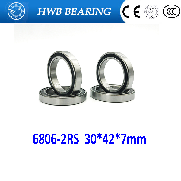 free shipping 6806 6806RS 61806-2RS 30*42*7 mmg Thin wall  chrome steel  deep groove bearing Rubber sealed bearing  6806-2RS free shipping 6806 2rs 30 42 7mm full zro2 ceramic ball bearing 30x42x7mm 61806 2rs 6806 61806 2rs for bicycle part