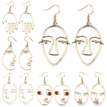 Fashion Creative Abstract Face Hand Earrings Personality Female Girl Metal Facial Silhouette Silhouette Pendant Earrings Brincos недорго, оригинальная цена
