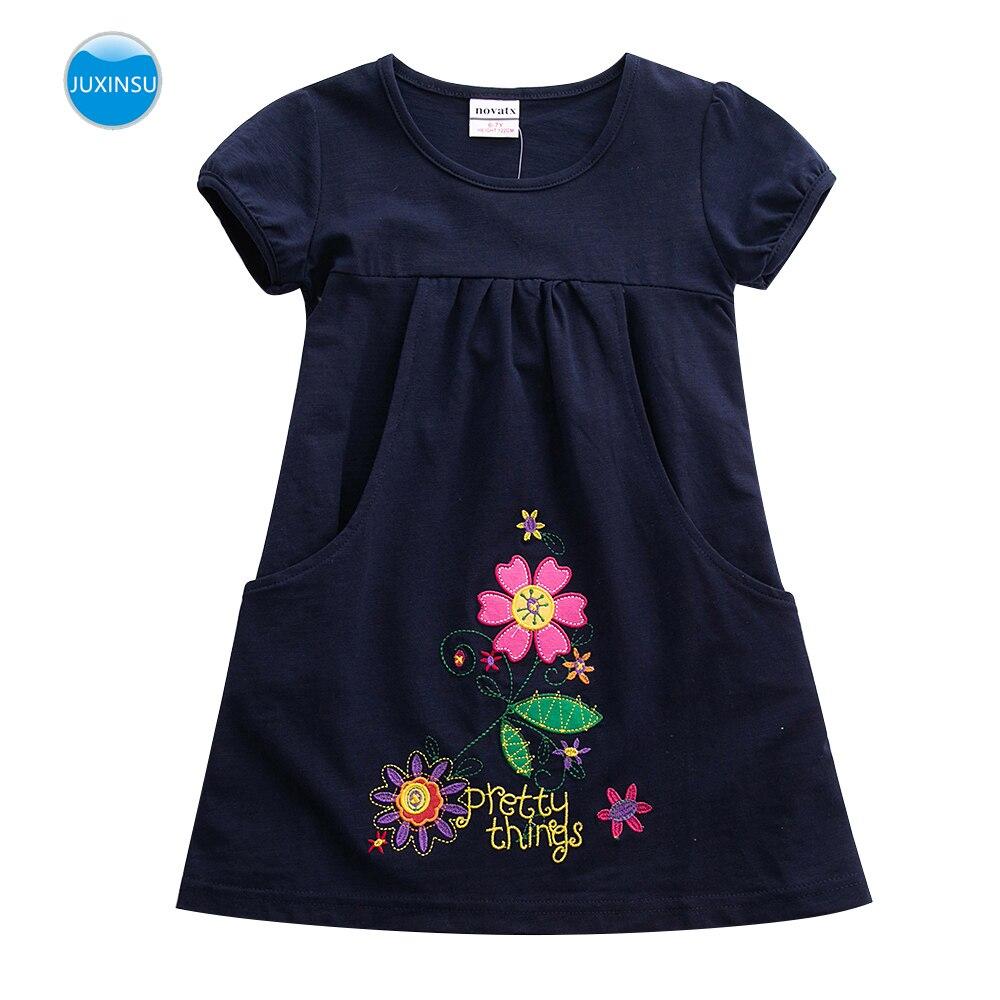 JUXINSU Kids Toddler Flower Girls Summer Cotton Short Sleeve Dresses for 1-6 Years Clothes