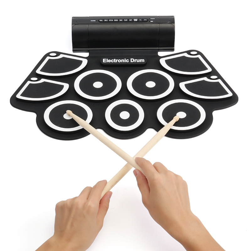 2019 Portable 9 Pads Roll Up Drum Foldable Small Electronic Drum Built In Battery Drumsticks Foot Pedals Electric Instruments