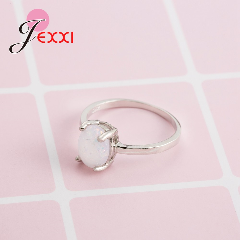 JEXXI Wholesale Simple 925 Sterling Silver Wedding Engagement Promise Rings Paved White Fire Opal Rings Women Accessory Top Sell