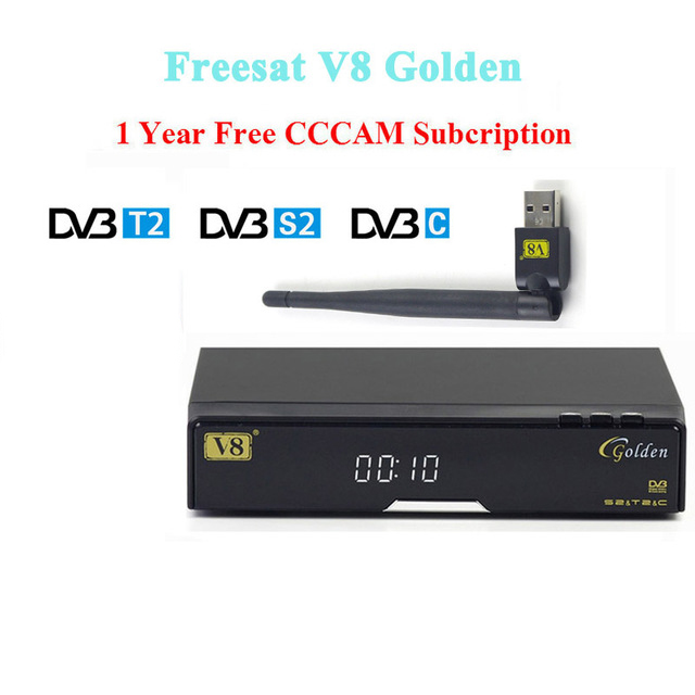 Best V8 Golden receptor Satellite dvb t2/s2/c satellite receiver+1 year europe cccam cline Support PowerVu Biss Key via USB WIFI wholesale freesat v7 hd dvb s2 receptor satellite decoder v8 usb wifi hd 1080p support biss key powervu satellite receiver