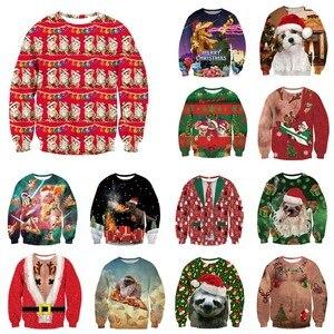 Image 1 - Alisister מכוער חג המולד סווטשירט סנטה קלאוס הדפסת Loose קפוצ ון גברים נשים סוודר חג המולד חידוש סתיו החורף למעלה