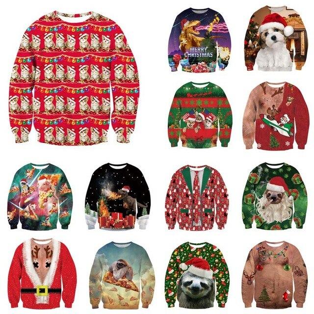 Alisister מכוער חג המולד סווטשירט סנטה קלאוס הדפסת Loose קפוצ ון גברים נשים סוודר חג המולד חידוש סתיו החורף למעלה