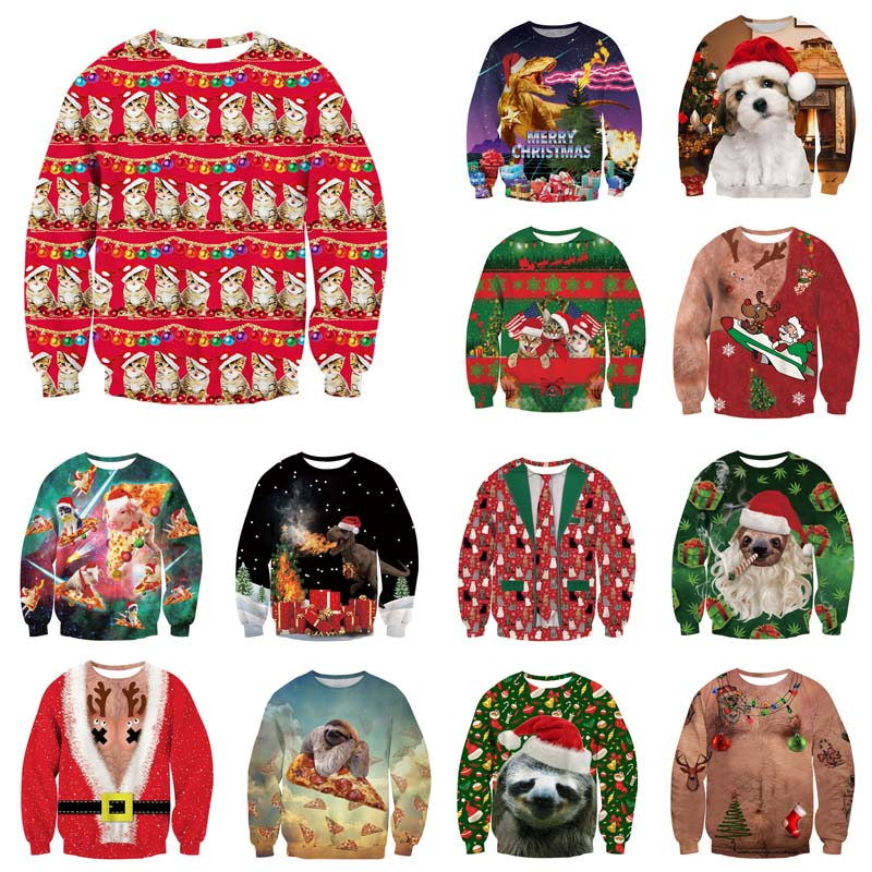 Alisister Ugly Christmas Sweater Santa Claus Print Loose Hoodie Men Women Pullover Christmas Novelty Autumn Winter Top Clothing