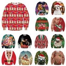 Alisister feio natal moletom papai noel impressão solto hoodie das mulheres dos homens pulôver natal novidade outono inverno topo
