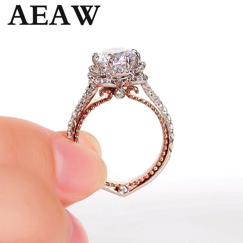 Solid 18K White And Yellow Gold Center DF Color 1ctw Moissanite Diamond Vintage Engagement Ring For Women Bridal Wedding