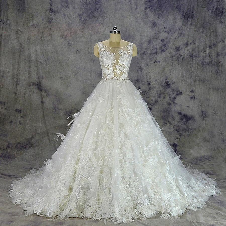 2019 Luxurious Feather Wedding Dress Sexy Transparent Top Bridal Gown Custom Made Ball Gown Skirt With Flowers And Feathers Bridal Gown Lace Wedding Dresswedding Dress Sexy Aliexpress