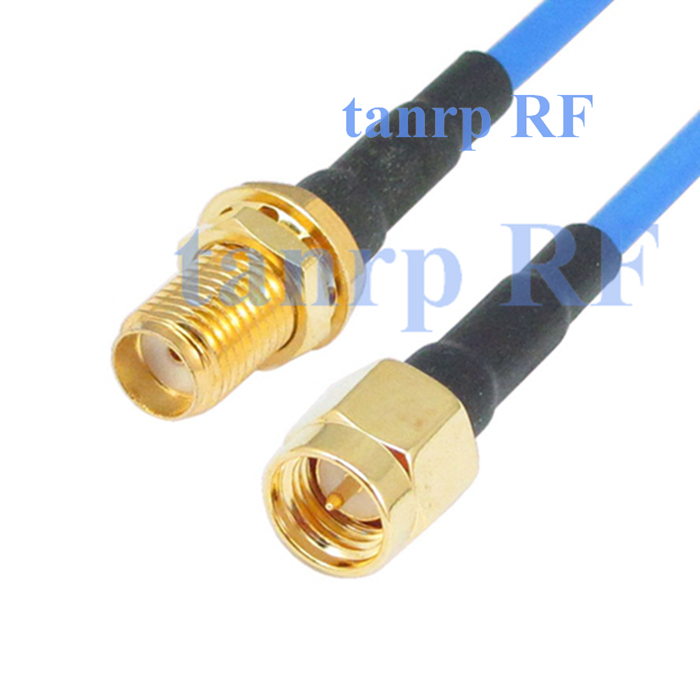 20in SMA male plug to SMA female RF 3G 4G router WIFI 50CM coaxial Sexi Flexible blue jacket jumper extension cable RG405