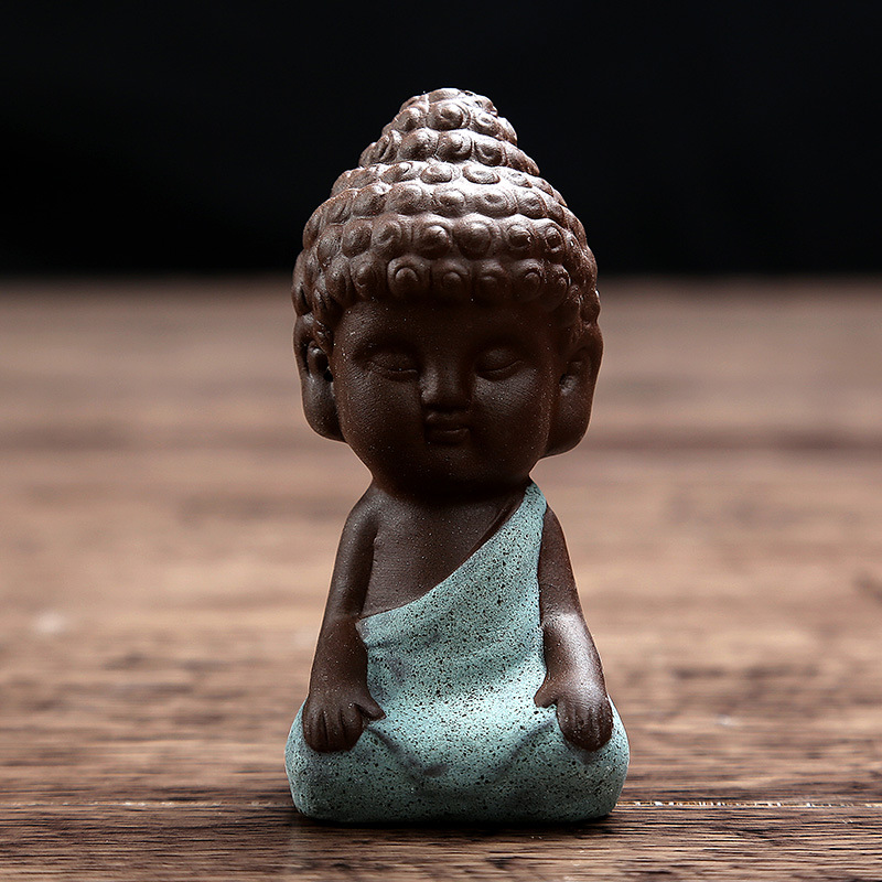 Kleine Buddha-Statue Mönch Figur Tathagata Indien Yoga Mandala - Wohnkultur - Foto 4