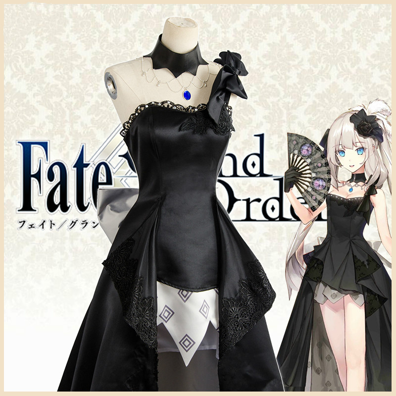 Cos Fate/Grand Order FGO Mary 2nd Anniversary Formal Wear formal dress Cosplay Costume Evening Dress Black Long Dress