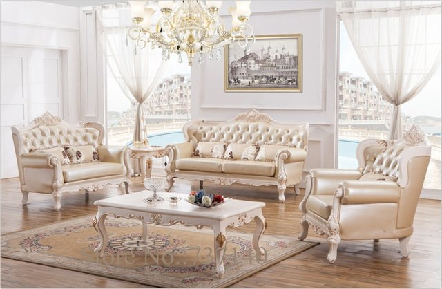 Baroque Living Room Furniture Sofa Set Solid Wood And Leather Sofa Set  Luxury Furniture Wholesale Price