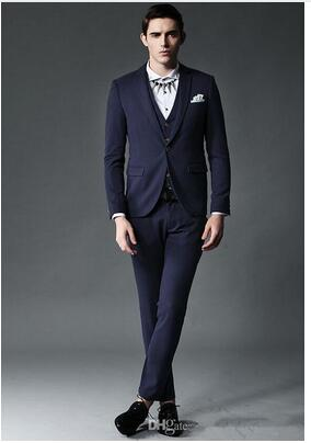 Best Selling Navy Blue Grey Groomsman Wedding Suits For Men Men