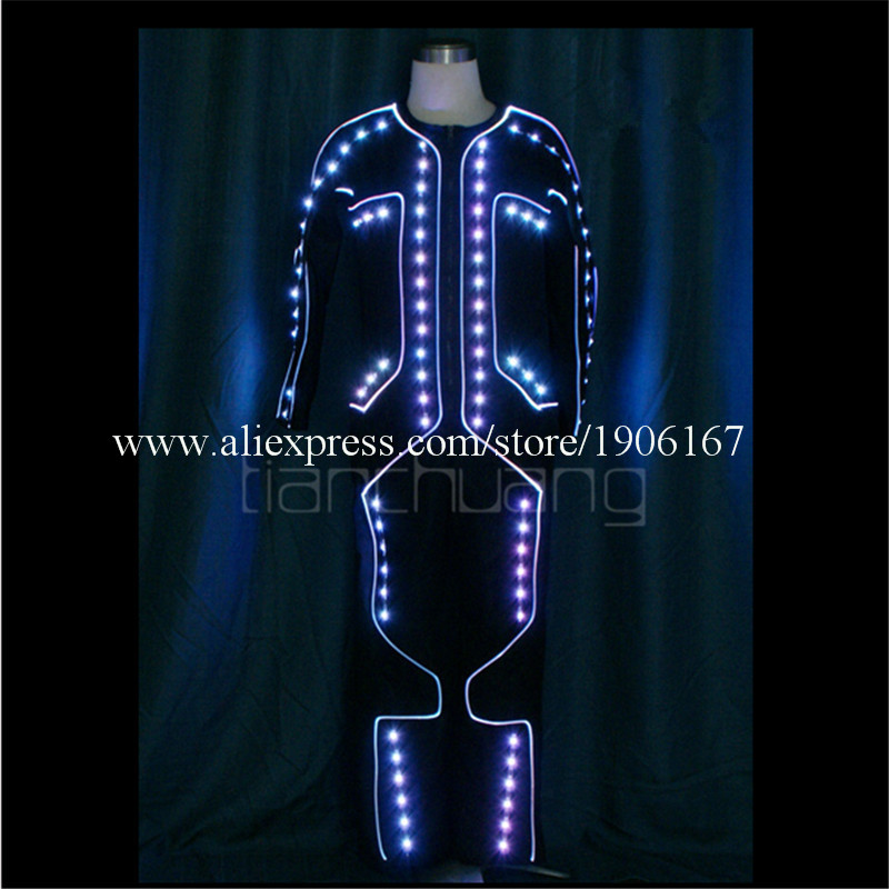 LED Light up Tron dance Costumes2