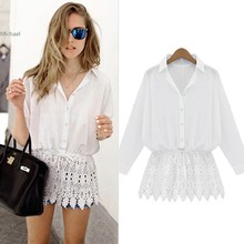 Womens Tops Fashion  Sexy Lace Hem Stitching Loose Bat Sleeve White Chiffon Blouse Shirt b7