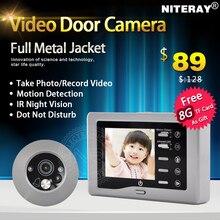 Amplio ángulo de cámara del ojo de puerta digital mirilla visor con batería timbre de la puerta soporte motion detección de infrarrojos ir y